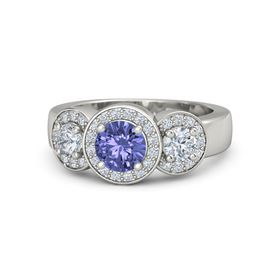 Round Tanzanite Platinum Ring with Diamond