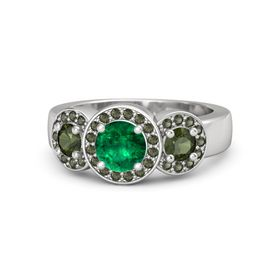 Round Emerald Sterling Silver Ring with Green Tourmaline