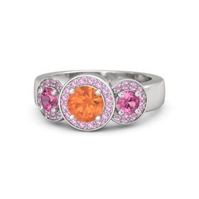 Round Fire Opal Sterling Silver Ring with Pink Tourmaline