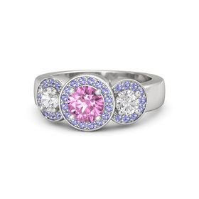 Round Pink Sapphire Sterling Silver Ring with White Sapphire and Iolite