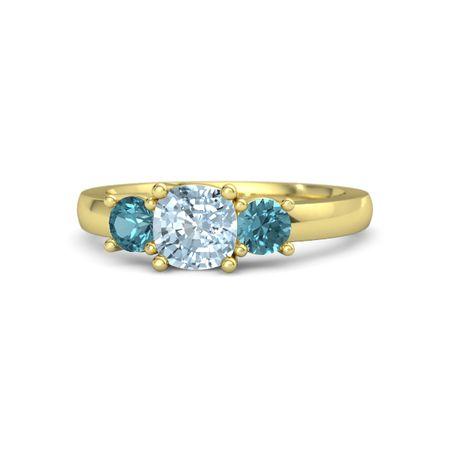 Estelle Ring 6mm Gem Cushion Aquamarine 14k Yellow Gold Ring With London Blue Topaz