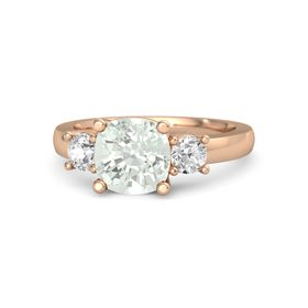 Cushion Green Amethyst 14K Rose Gold Ring with White Sapphire
