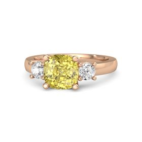 Cushion Yellow Sapphire 14K Rose Gold Ring with White Sapphire