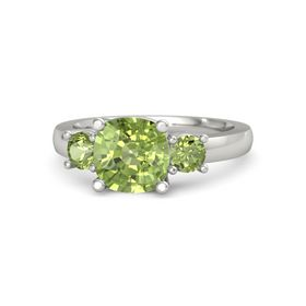 Cushion Peridot 14K White Gold Ring with Peridot