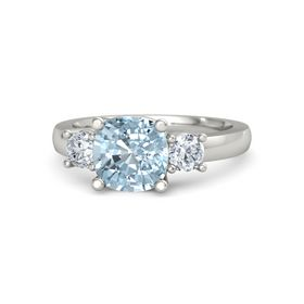Cushion Aquamarine 14K White Gold Ring with Diamond