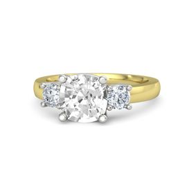 Cushion Rock Crystal 14K Yellow Gold Ring with Diamond