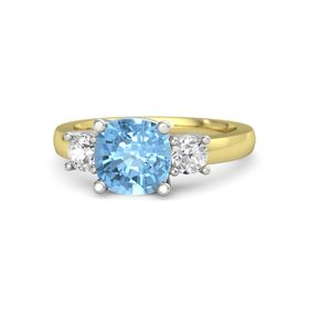Cushion Blue Topaz 14K Yellow Gold Ring with White Sapphire
