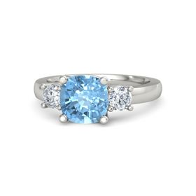 Cushion Blue Topaz 18K White Gold Ring with Diamond