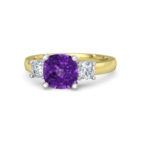 Cushion Amethyst 18K Yellow Gold Ring with Diamond
