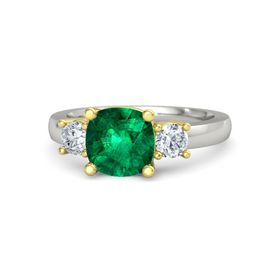 Cushion Emerald Palladium Ring with Diamond