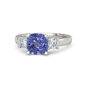 Cushion Tanzanite Platinum Ring with Diamond