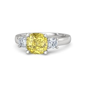 Cushion Yellow Sapphire Sterling Silver Ring with Diamond