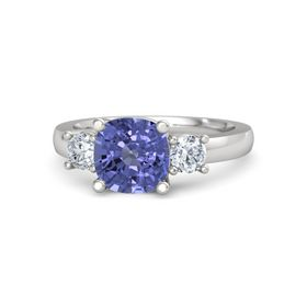 Cushion Tanzanite Sterling Silver Ring with Diamond