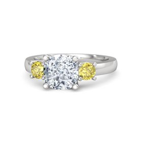 Cushion Diamond Sterling Silver Ring with Yellow Sapphire