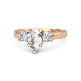 Pear Rock Crystal 14K Rose Gold Ring with Diamond