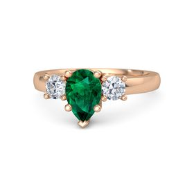 Pear Emerald 14K Rose Gold Ring with Diamond