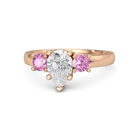 Pear White Sapphire 14K Rose Gold Ring with Pink Sapphire