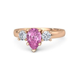 Pear Pink Sapphire 14K Rose Gold Ring with Diamond