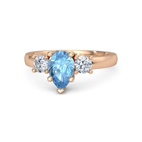 Pear Blue Topaz 14K Rose Gold Ring with Diamond