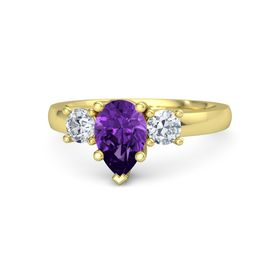 Pear Amethyst 14K Yellow Gold Ring with Diamond
