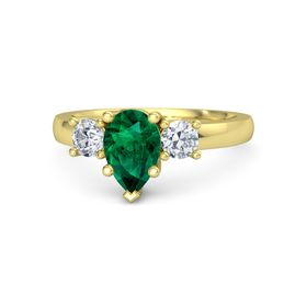 Pear Emerald 14K Yellow Gold Ring with Diamond