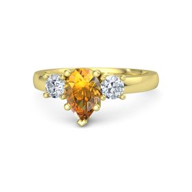 Pear Citrine 14K Yellow Gold Ring with Diamond