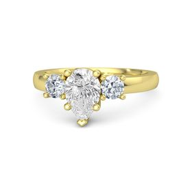 Pear White Sapphire 14K Yellow Gold Ring with Diamond
