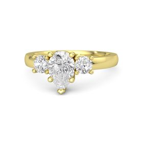 Pear White Sapphire 14K Yellow Gold Ring with White Sapphire