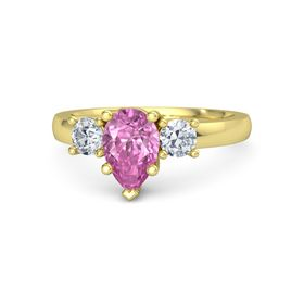 Pear Pink Sapphire 14K Yellow Gold Ring with Diamond