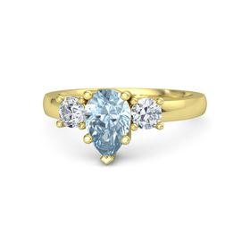 Pear Aquamarine 14K Yellow Gold Ring with Diamond