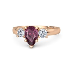 Pear Rhodolite Garnet 18K Rose Gold Ring with Diamond
