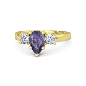 Pear Iolite 18K Yellow Gold Ring with Diamond