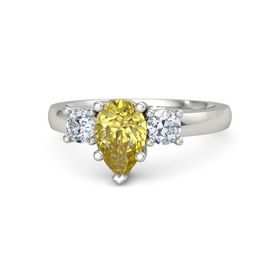 Pear Yellow Sapphire Platinum Ring with Diamond