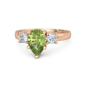 Pear Peridot 14K Rose Gold Ring with Diamond