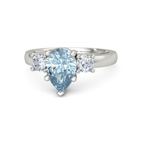 Pear Aquamarine 14K White Gold Ring with Diamond