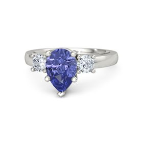 Pear Tanzanite 14K White Gold Ring with Diamond