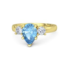 Pear Blue Topaz 14K Yellow Gold Ring with Diamond