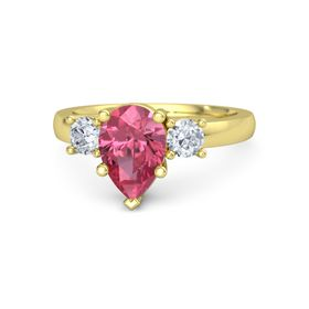 Pear Pink Tourmaline 14K Yellow Gold Ring with Diamond