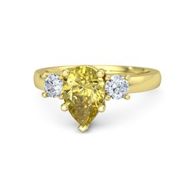 Pear Yellow Sapphire 14K Yellow Gold Ring with Diamond