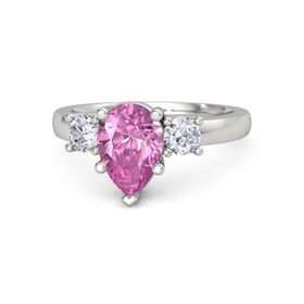 Pear Pink Sapphire 18K White Gold Ring with Diamond