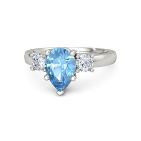 Pear Blue Topaz 18K White Gold Ring with Diamond