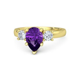 Pear Amethyst 18K Yellow Gold Ring with Diamond