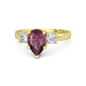 Pear Rhodolite Garnet 18K Yellow Gold Ring with Diamond