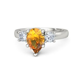 Pear Citrine Palladium Ring with Diamond