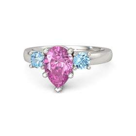 Pear Pink Sapphire Palladium Ring with Blue Topaz