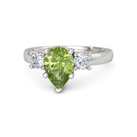 Pear Peridot Palladium Ring with Diamond