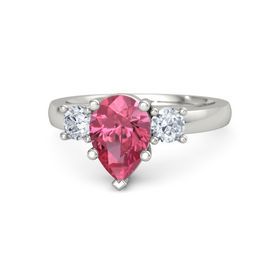 Pear Pink Tourmaline Palladium Ring with Diamond
