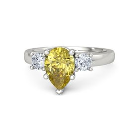 Pear Yellow Sapphire Palladium Ring with Diamond