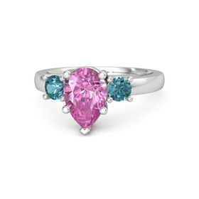 Pear Pink Sapphire Sterling Silver Ring with London Blue Topaz