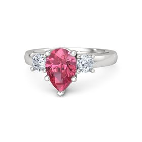 Pear Pink Tourmaline Sterling Silver Ring with Diamond